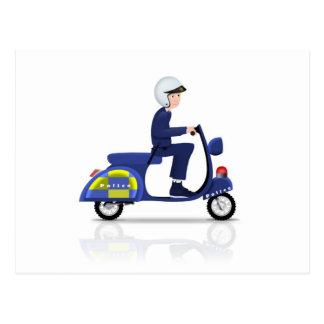 Polizist auf Roller Postkarte