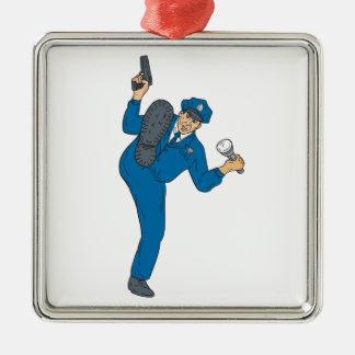 Polizist-Gewehr-Taschenlampen-Fackel-tretendes Quadratisches Silberfarbenes Ornament