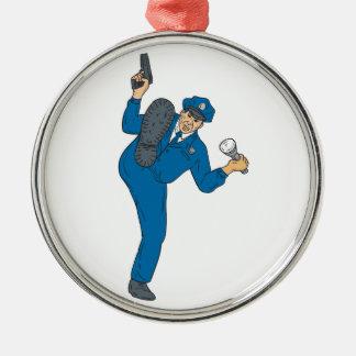 Polizist-Gewehr-Taschenlampen-Fackel-tretendes Silbernes Ornament