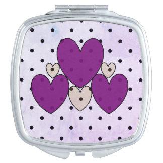 Polka Dot_& Hearts_Purple_ Taschenspiegel