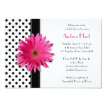 Polka Dot Pink Daisy Bridal Shower Invitation