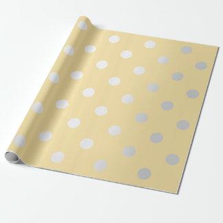 Polka-kleine Punkt-zitronengelbes gelbes silbernes Geschenkpapier