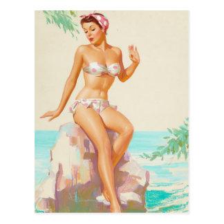 Polka-Punkt-Bikini-Button herauf Kunst Postkarte
