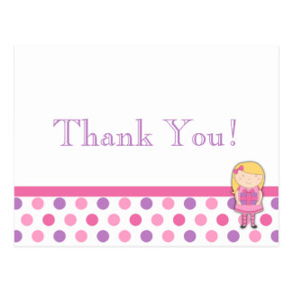 Polka-Punkt danken Ihnen, Postkarte in rosa u. in