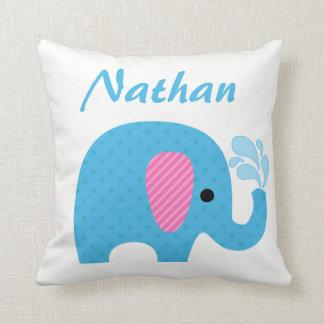 Polka-Punkt-Elefant-tierischer blauer rosa Kissen