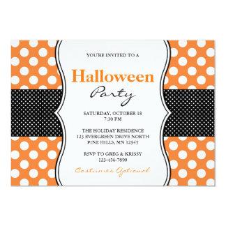 Polka-Punkt-Halloween-Party-Einladungen Karte