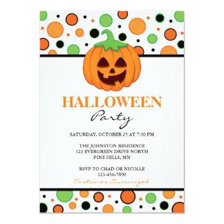 Polka Punkt Ku0026#252;rbis Halloween Party Einladungen 12