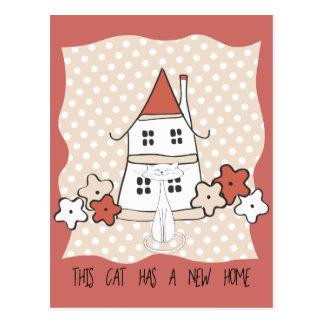 Polka-Punkt-niedliches Haus und Blumen-neue Postkarte