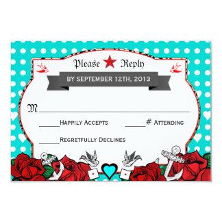 Polka-Punkt-Tätowierungs-Rockabilly 8,9 X 12,7 Cm Einladungskarte