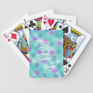 Polka-Punkt und aquamarine Watercolor-Skizze - Bicycle Spielkarten