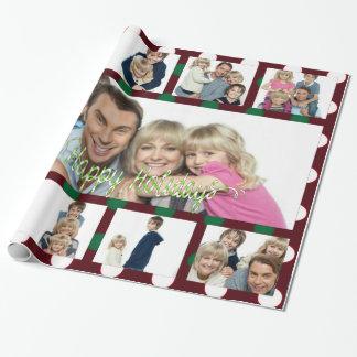Polka-Punkt-Weihnachtspersonalisierte Collage Einpackpapier