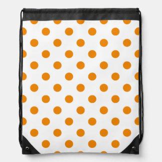 Polka-Punkte - Mandarine auf Weiß Turnbeutel