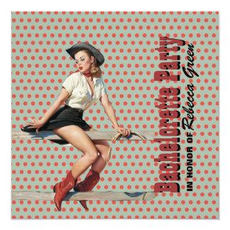 Polkapunkt-Cowgirl-Western-Junggeselinnen-Abschied Quadratische 13,3 Cm Einladungskarte