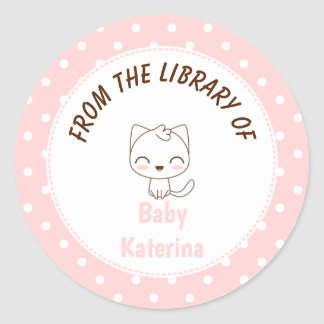 Polkapunkte Buchzeichen Kawaii Katze Girly rosa Runder Aufkleber