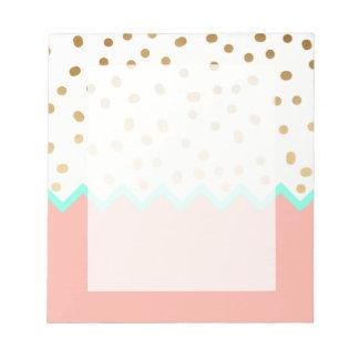 Polkapunkte Minze und Rosa des eleganten Imitats Notizblock