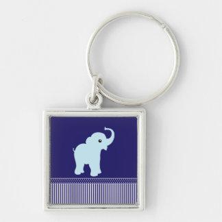 Polkapunkte u. -streifen des Elefanten niedliches  Silberfarbener Quadratischer Schlüsselanhänger