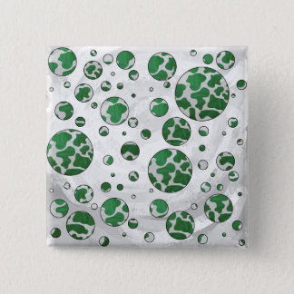 Polks Punkt-Kuh-grüner und weißer Druck Quadratischer Button 5,1 Cm