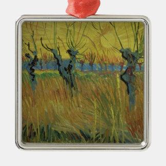 Pollarded Weiden Vincent van Goghs |, untergehende Silbernes Ornament