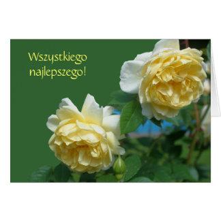 Polnische Geburtstag Sto Lat-Gelb-Rosen-Karte Grußkarte