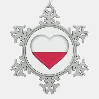 Polnische Liebe-Zinn-Verzierung Schneeflocken Zinn-Ornament