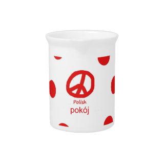 Polnische Sprache und Friedenssymbol-Entwurf Krug