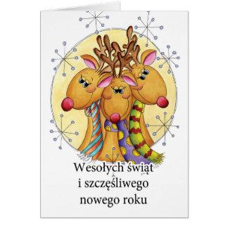 Polnische Weihnachtskarte - Ren - Wesołych świąt Karte