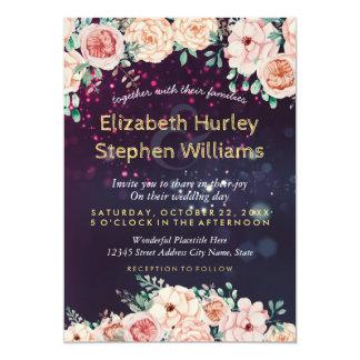 Polterabend-moderne lila Schein-mit Blumenlichter Karte