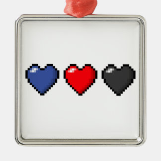 Polyamorous Pixel-Herzen Silbernes Ornament