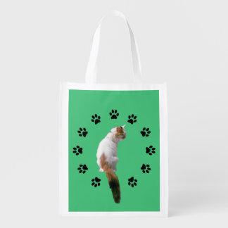 Polyester-Tasche - Kaliko-Katze innerhalb Pawprint Wiederverwendbare Einkaufstasche