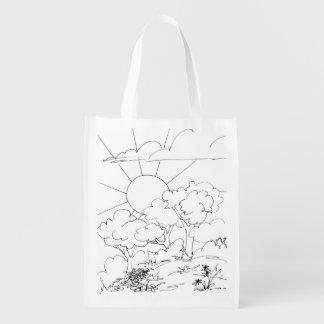 Polyester-Tasche - Morgen-Szene zur Farbe Wiederverwendbare Einkaufstasche