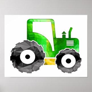 Polygon-Mosaik-grüner u. gelber Traktor Poster