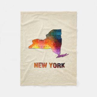 Polygon-Mosaik-Pergament-Karte NEW YORK Fleecedecke