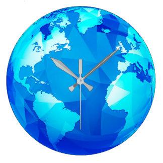 Polygonale Erdkugel-Weltkarte-runde Wanduhr