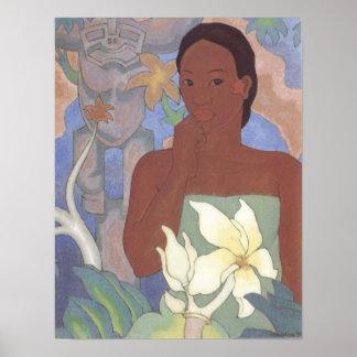 """""""Polynesische Frau und Tiki"""" - Arman Manookian Plakate"""