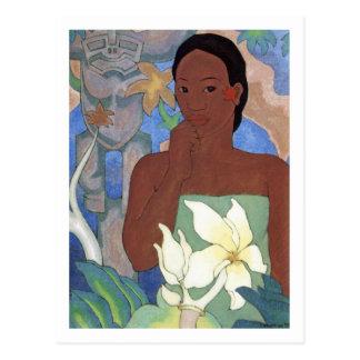 Polynesische Frau und Tiki durch Manookian Postkarte