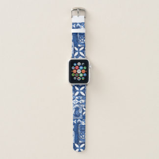 Pomaika'i Tiki hawaiischer Vintager Tapa - Indigo Apple Watch Armband