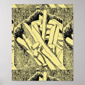 Pommes-Frites mit Ziegeln gedeckt in hellgelbem Poster
