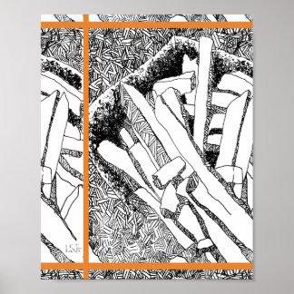 Pommes-Frites mit Ziegeln gedeckt mit orange Poster