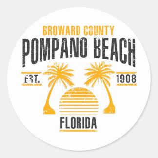 Pompano-Strand Runder Aufkleber