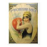 Pontchartrain Strand-Plakat-Karte Postkarte