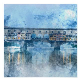 Ponte Vecchio auf dem Arno in Florenz, Italien Poster