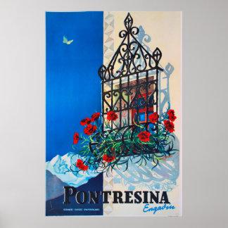 Pontresina, Engadin, die Schweiz, Ski-Plakat Poster