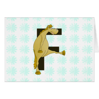 Pony des Monogramm-Buchstabe-F Grußkarte