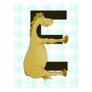 Pony-Monogramm-Buchstabe E personalisiert Postkarte