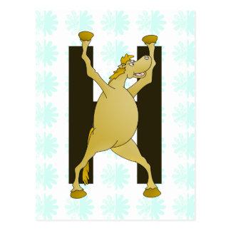 Pony-Monogramm-Buchstabe H personalisiert Postkarte