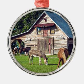 Ponys auf dem Bauernhof Silbernes Ornament