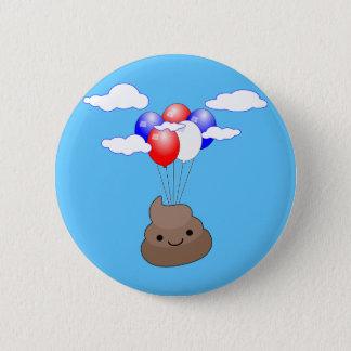 Poo Emoji Fliegen mit Ballonen im blauen Himmel Runder Button 5,7 Cm