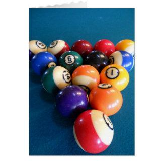Pool-Bälle stark beansprucht auf der Tabelle Grußkarte