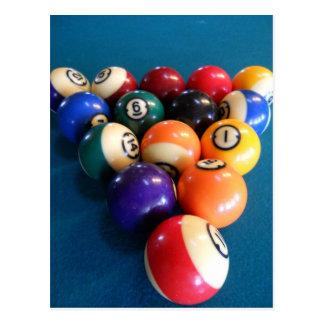 Pool-Bälle stark beansprucht auf der Tabelle Postkarte
