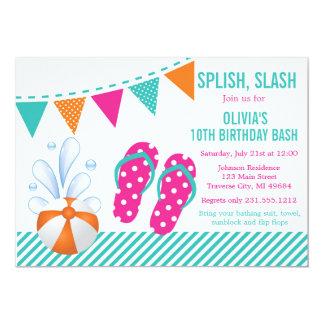 Pool-oder Strand-Geburtstags-Party Einladung